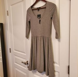 NWT Forever 21 Gray Fit & Flare Ribbed Dress